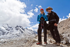 Couple Hiking in Himalaya Mountains Royalty Free Stock Photo