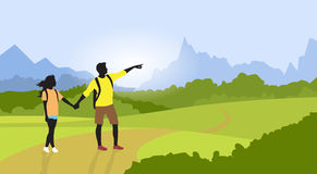 Couple Hiking Man Woman Silhouette Traveler Mountain Stock Photos