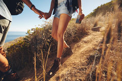 Couple hiking in mountain Royalty Free Stock Image