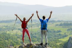 Couple hiking on the mountain Royalty Free Stock Photo