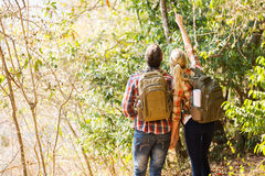 Couple hiking mountain Stock Photography