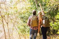 Couple hiking mountain Stock Photography