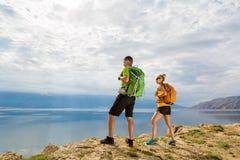 Couple hiking Rab Island, Croatia Stock Images