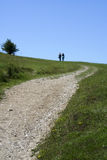 Couple hiking the ridgeway trail chiltern hills uk Stock Image