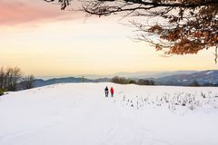 Couple hiking on the snow covered mountain. Winter active lifestyle Stock Images
