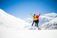 Couple hiking success in mountains Royalty Free Stock Photo