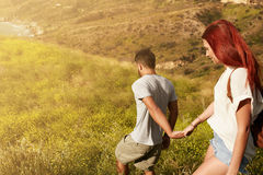 Couple hiking on a summer day Stock Photography