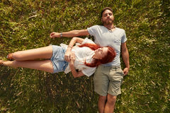 Couple hiking on a summer day Stock Image