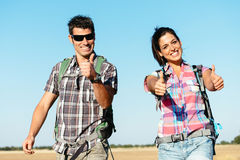 Couple on hiking summer travel in spain Royalty Free Stock Image