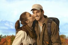 Couple hiking together in nice autumn weather Stock Photo