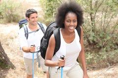 Couple on hiking trip royalty free stock photos