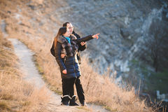 Couple on Hill Stock Photo