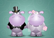 A couple of hippos spouses Stock Photography