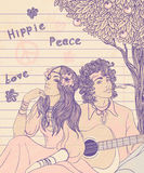Couple of a hippy. On a sunny afternoon, vector illustration royalty free illustration