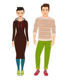 Couple in hipster style clothes Stock Photos