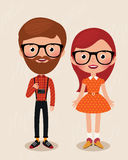 Couple hipsters stock illustration