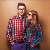 Couple hipsters in studio Stock Photos