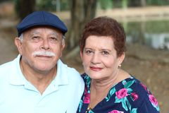 Couple of hispanic pensioners close up royalty free stock photo
