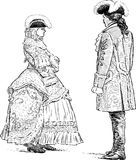 Couple in the historical suits. Vector drawing of a couple in the theatrical costumes royalty free illustration