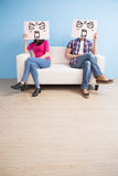 Couple hold billboard Stock Photography