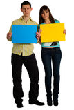 Couple hold cards Royalty Free Stock Photo