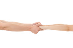 Couple hold hands Royalty Free Stock Photo