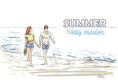 Couple Hold Hands Walking Beach Man And Woman Holiday Sketch On Sea Vacation Stock Images