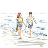 Couple Hold Hands Walking Beach Man And Woman Holiday Sketch On Sea Vacation Stock Photo