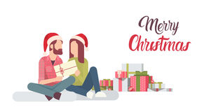 Couple Hold Present Decorated Gift New Year Merry Christmas Celebration Stock Images