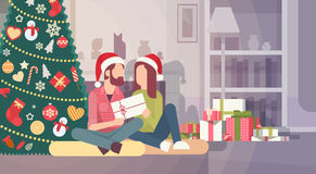Couple Hold Present Decorated Gift New Year Merry Christmas Celebration Home Interior Pine Tree. Flat Vector Illustration vector illustration