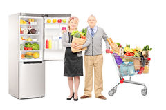 Couple holding a bag and shopping cart full of groceries, with a Stock Photo