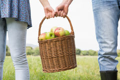 Couple holding basket full of apples Stock Image