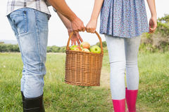 Couple holding basket full of apples Royalty Free Stock Photos