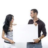Couple holding blank banner Stock Image