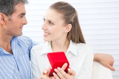 Couple Holding Box Ring Royalty Free Stock Photo