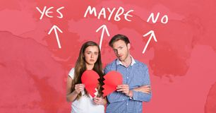 Couple holding broken heart with yes no maybe writing in background with arrows royalty free illustration
