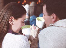 Couple Holding Cups With Hot Chocolate With Marshmallows Stock Images
