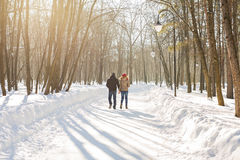 Couple holding each other's hands, the winter goes on the road, enjoying a stroll, a love couple. Husband and wife are Stock Image
