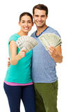 Couple Holding Fanned Us Paper Currency Stock Photo