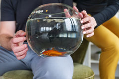 Couple holding goldfish in a fishbowl. Closeup Royalty Free Stock Photo