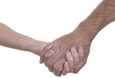 Couple holding hands. Male and female hands clasped over white. Concept of love or support Royalty Free Stock Photography