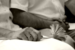 Couple Holding hands. Romantic photo of couple holding hands with flower (gerbera); in love Stock Image