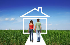 Couple Holding Hands And Going To Home Royalty Free Stock Photo