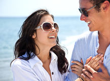 Couple holding hands beach Royalty Free Stock Image