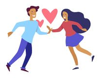 Couple holding hands of each other people in love royalty free illustration