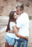 Couple holding hands in each other pocket Royalty Free Stock Photography