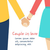 Couple holding hands. Female and male hands together. Couple in love. Vector illustration flat design Royalty Free Stock Images