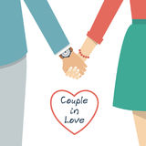 Couple holding hands. Female and male hands together. Couple in love. Vector illustration flat design Royalty Free Stock Image