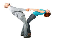 Couple holding for hands with heads up Stock Photo