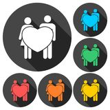 Couple holding hands with hearts icons with long shadow Stock Photos